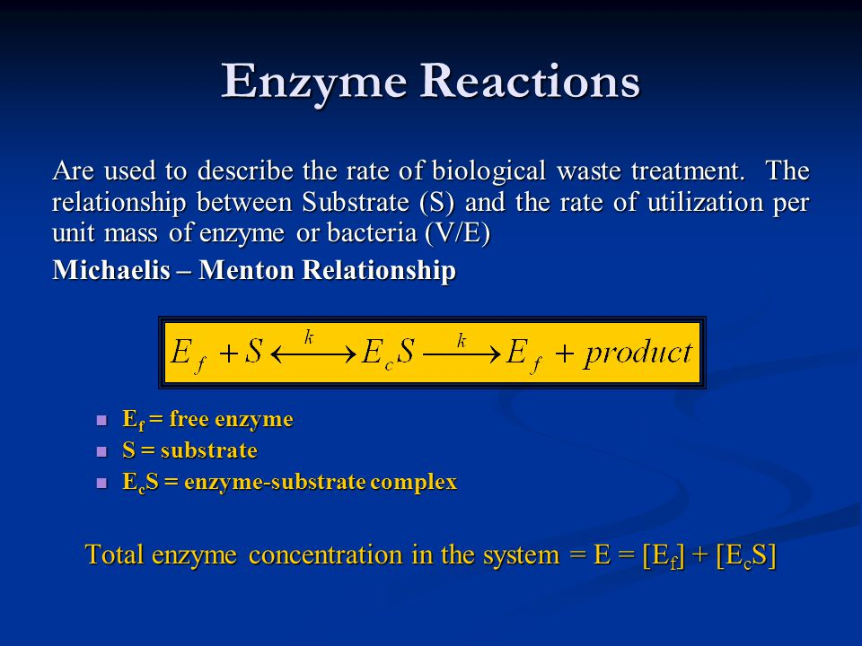 Total enzyme concentration in the system = E = [Ef] + [EcS]